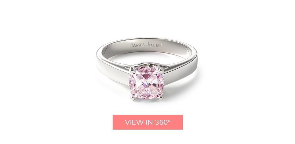 cushion cut diamonds fancy color pink solitaire engagement ring