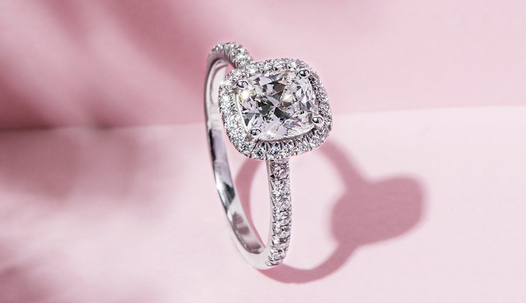 cushion cut diamonds halo engagement ring