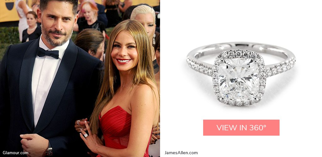 Sofia Vergara's 14K White Gold Cushion Outline Pavé Engagement Ring