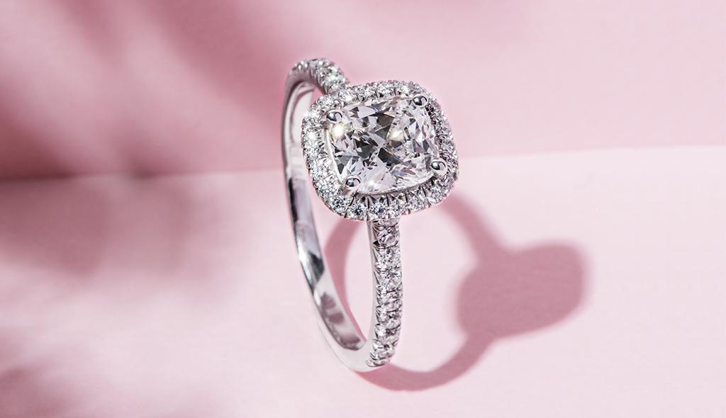 cushion cut diamonds halo engagement ring