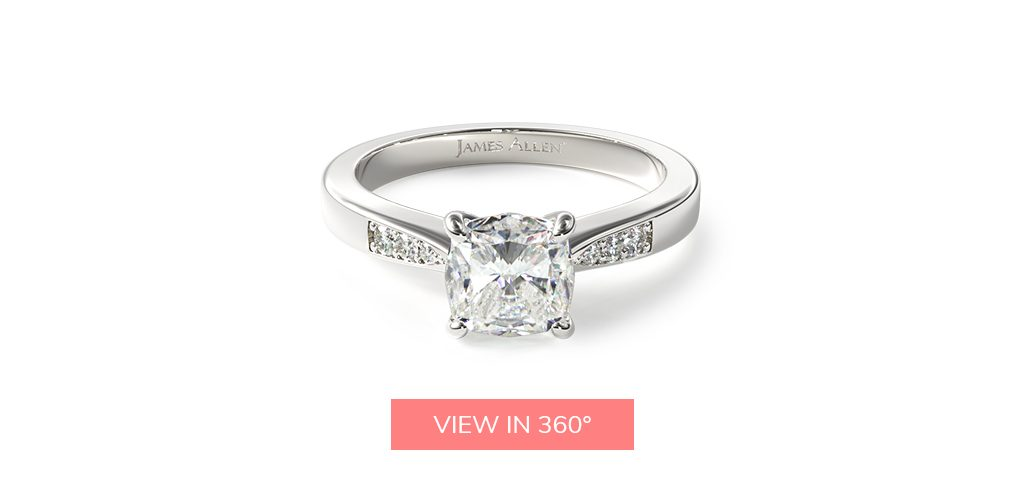 cushion cut diamonds tapered pave engagement ring