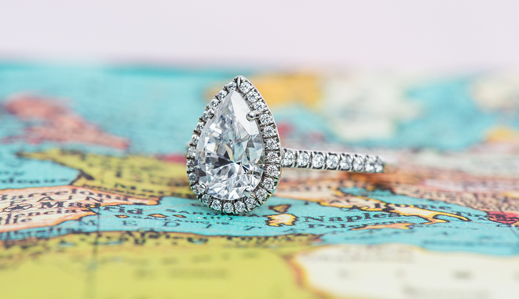 destination proposal diamond engagement ring map