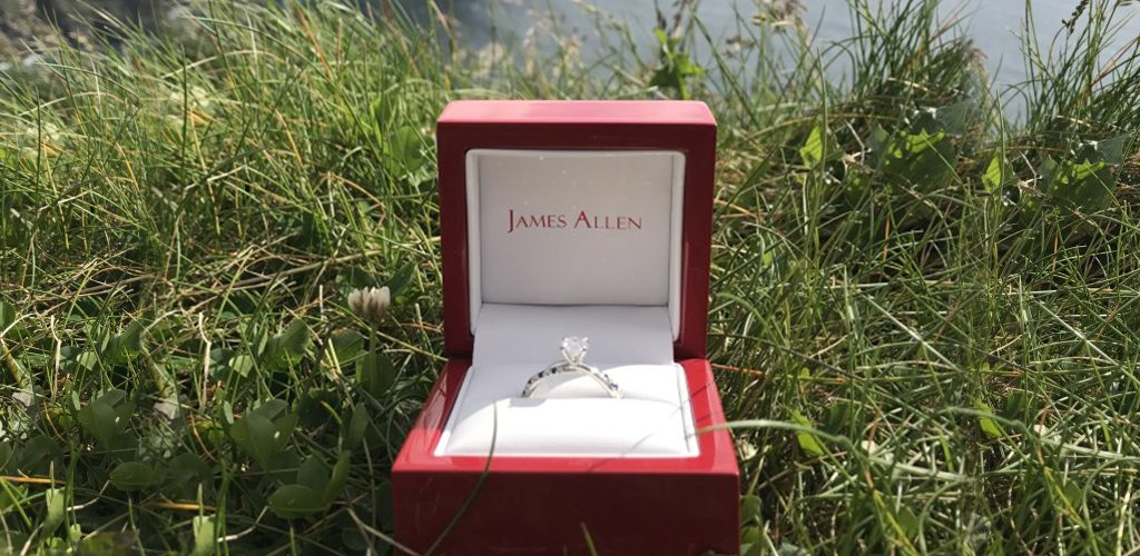 destination proposal engagement ring box grass