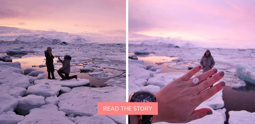 destination proposal iceland glacier sunset