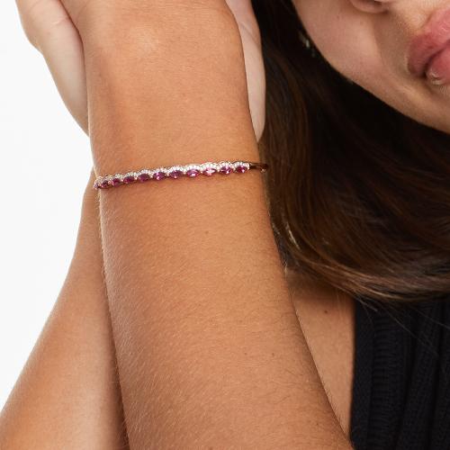 14K Rose Gold Ruby And Diamond Outline Bangle Bracelet