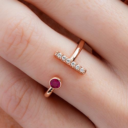 14K White Gold Ruby And Diamond Asymmetrical Bar Ring