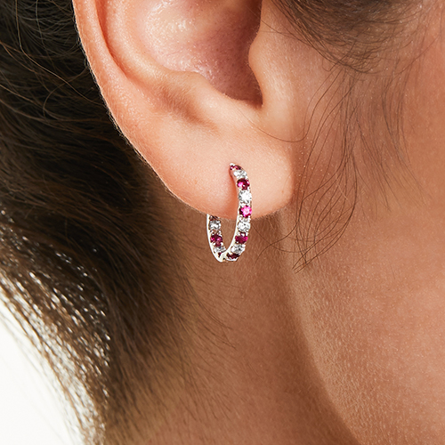 14K White Gold Inside Out Ruby And Diamond Round Hoops, 1/2 Inch Diameter.