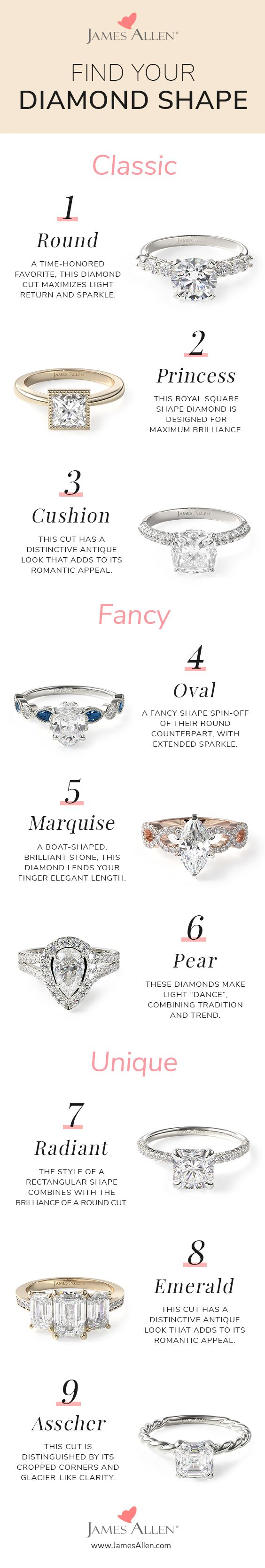 Diamond engagement rings - how to find your diamond shape