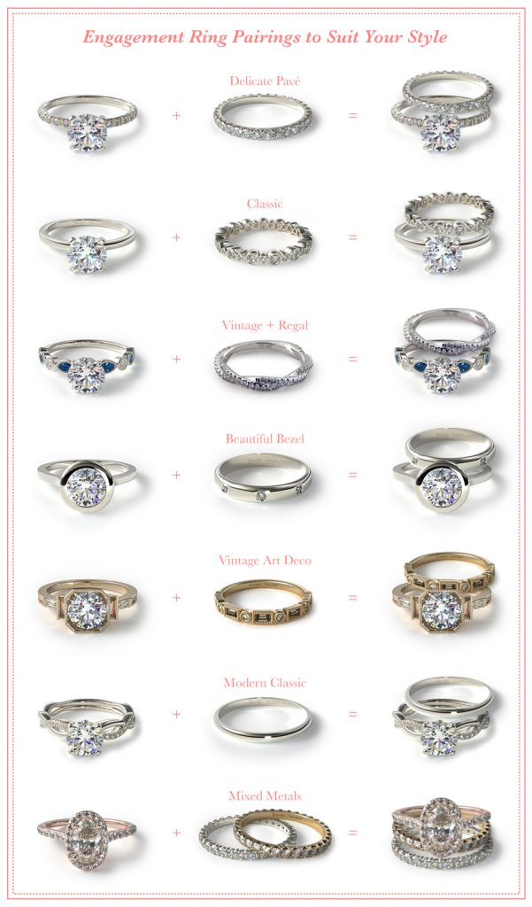 Engagement rings and wedding ring pairs on Pinterest