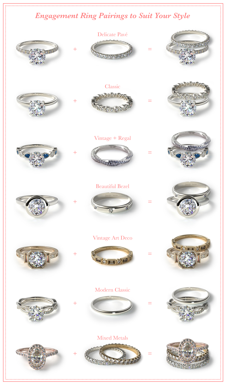 Engagement rings and wedding ring pairs