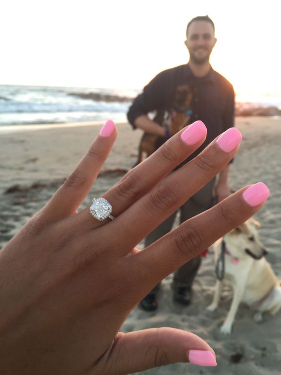 Engagement ring selfie after beach proposal