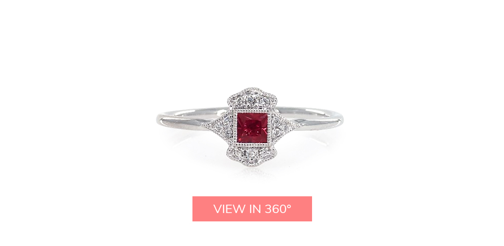 july birthstone art deco inspired ruby pavé diamond ring