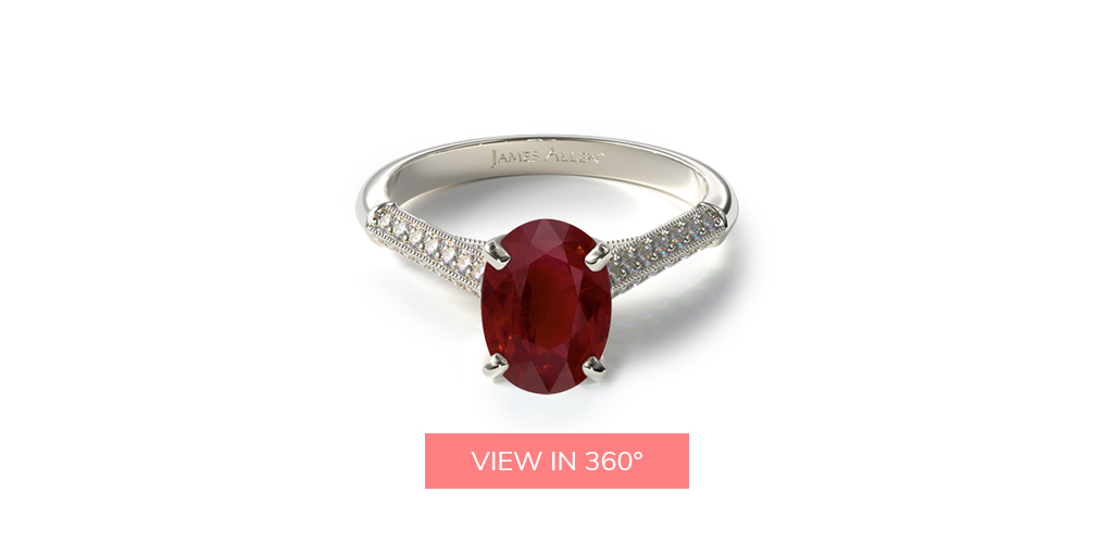july birthstone pavé knife edge cathedral ruby engagement ring