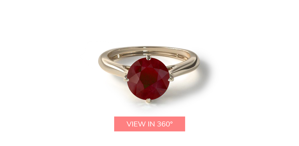 july birthstone pavé set crown solitaire ruby engagement ring