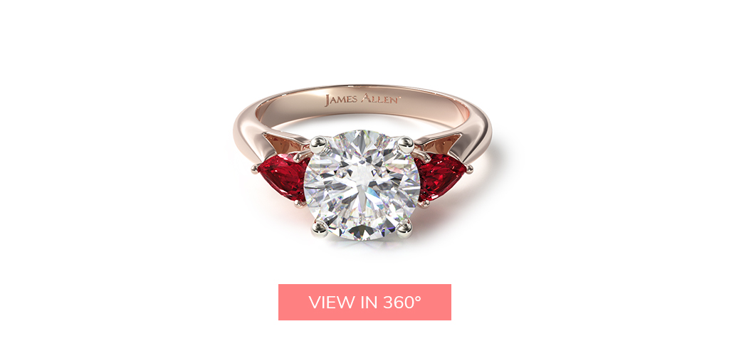 july birthstone three stone pear shaped ruby engagement ring