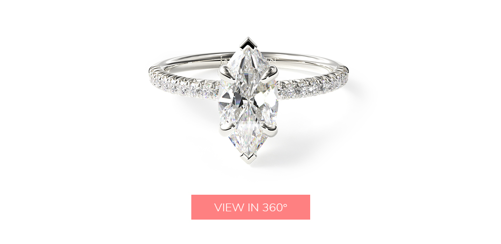 marquise cut diamonds petite pavé diamond engagement ring