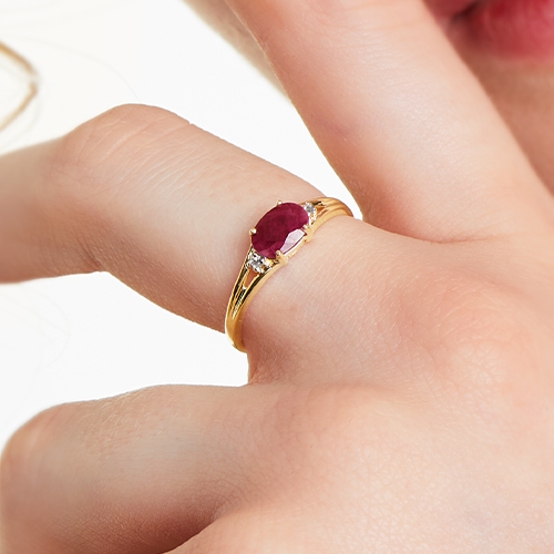14K Yellow Gold Oval Ruby And Diamond Accent Birthstone Ring