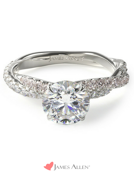 Pavé twist engagement ring from JamesAllen.com with round diamond