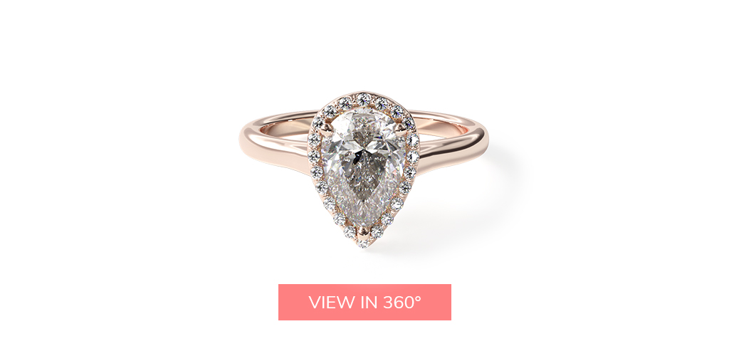 pear shaped diamonds pavé halo diamond engagement ring