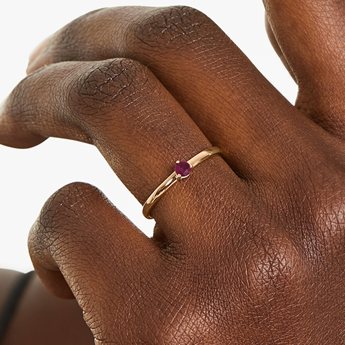 14K Yellow Gold 1.8mm Petite Single Ruby Birthstone Ring