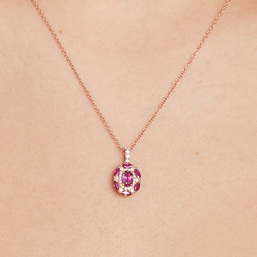 14K Rose Gold Imperial Ruby And Diamond Necklace