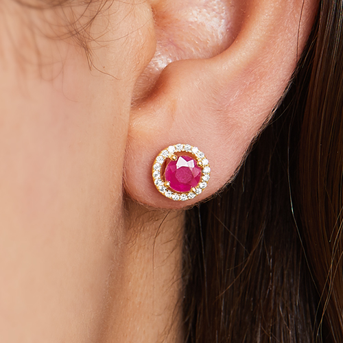 14K Yellow Gold Round Halo Ruby And Diamond Stud Earrings (5.0mm)