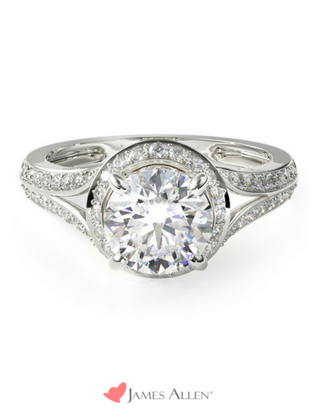 Vintage halo engagement ring in white gold from JamesAllen.com