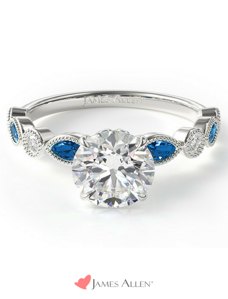 Sapphire and diamond vintage engagement rings in white gold from JamesAllen.com
