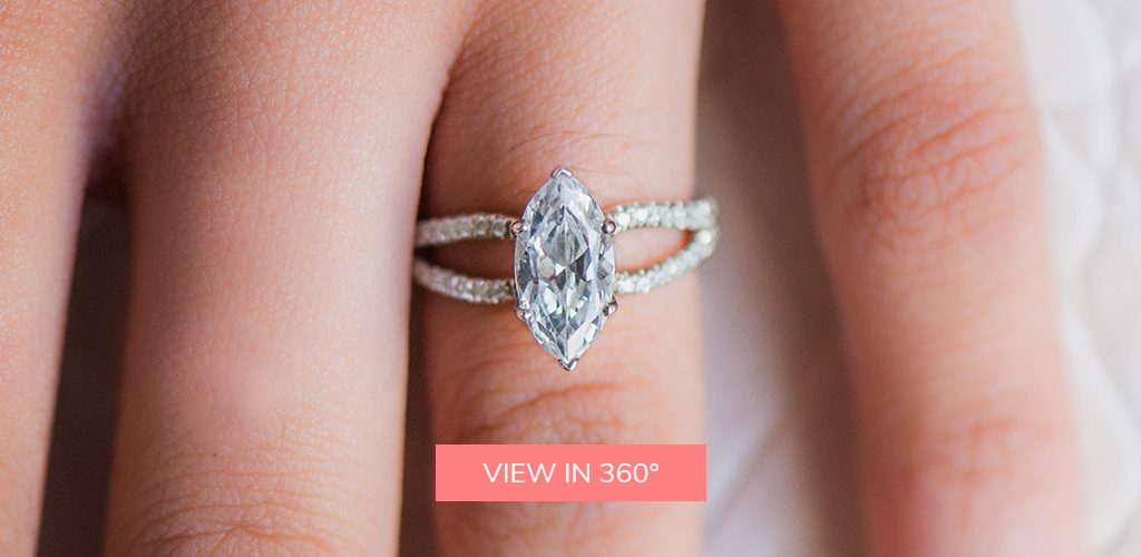 14K White Gold Split Shank Ribbon Engagement Ring