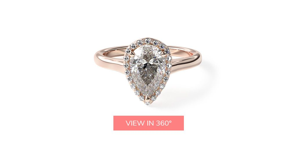 14K Rose Gold Pave Halo Diamond Engagement Ring (Pear Center)