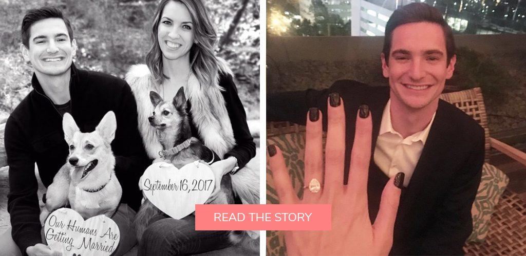 pet dog proposals photo shoot engagement ring