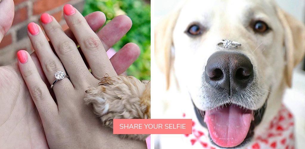 pet dog proposals selfies engagement ring