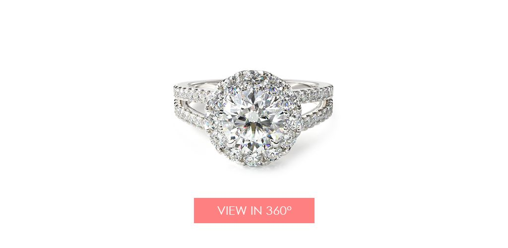 choosing diamond split shank halo engagement ring