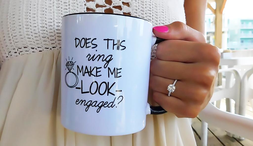 coffee engagement ring selfie