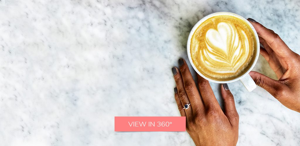 coffee sapphire engagement ring selfie rel dade