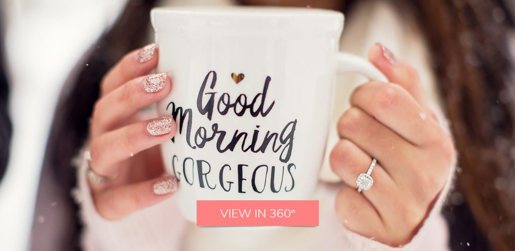 coffee winter cushion halo engagement ring selfie