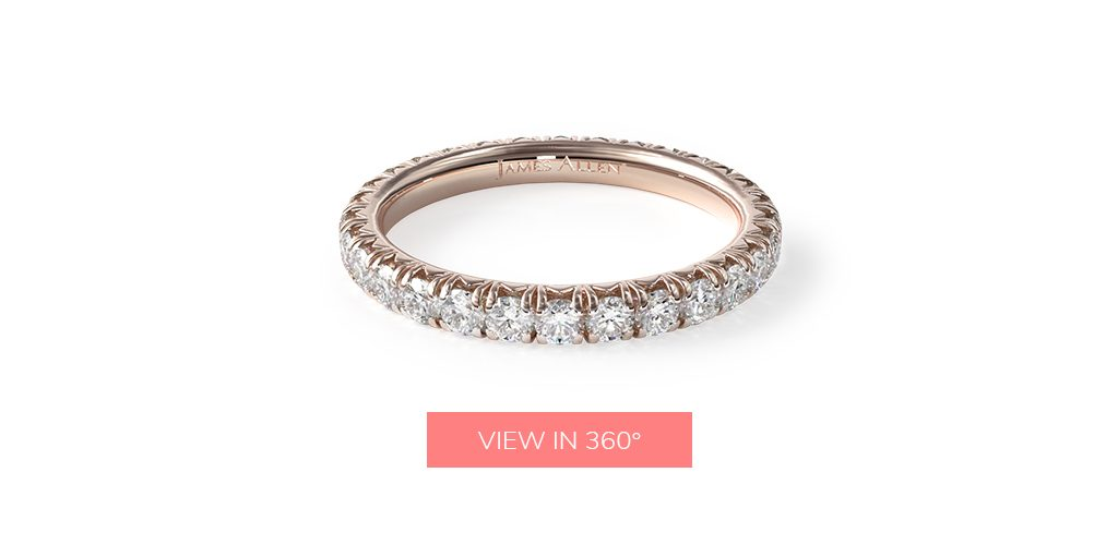 diamond eternity pave wedding rings for women