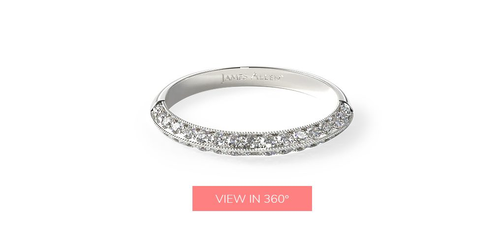 pave knife edge diamond wedding rings for women
