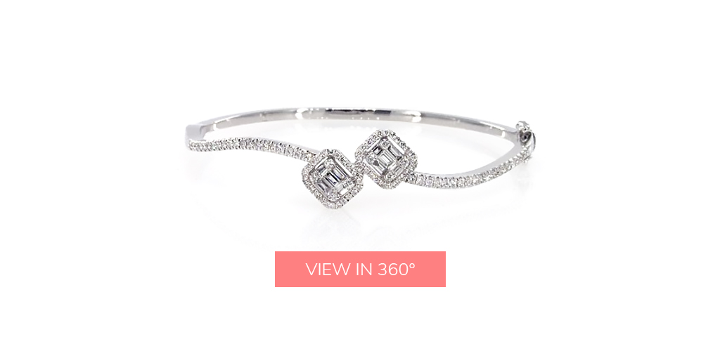 bangle wave baguette diamond bracelets