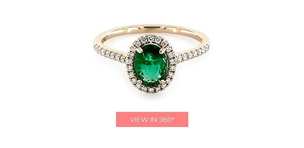 1.05 Carat Oval Natural Green Emerald Pavé Halo Diamond Engagement Ring (Oval Center)
