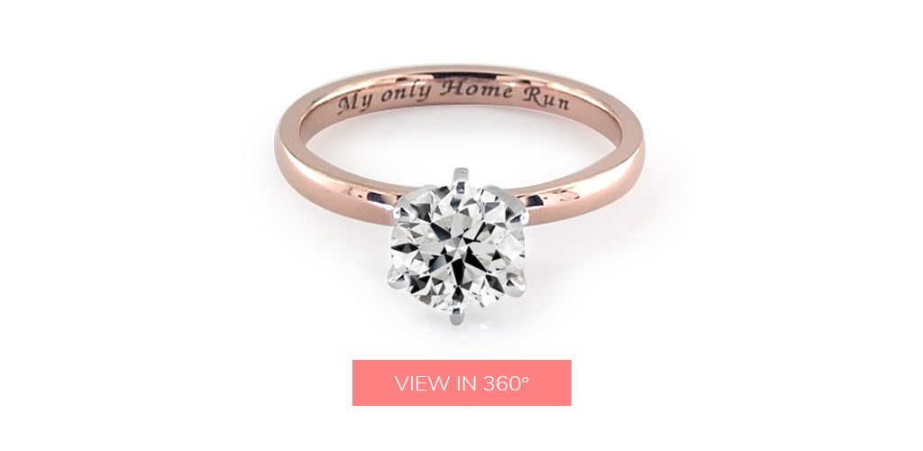 "engagement ring engraving ideas: rose gold inscribed with the phrase ""My only Home Run"""""