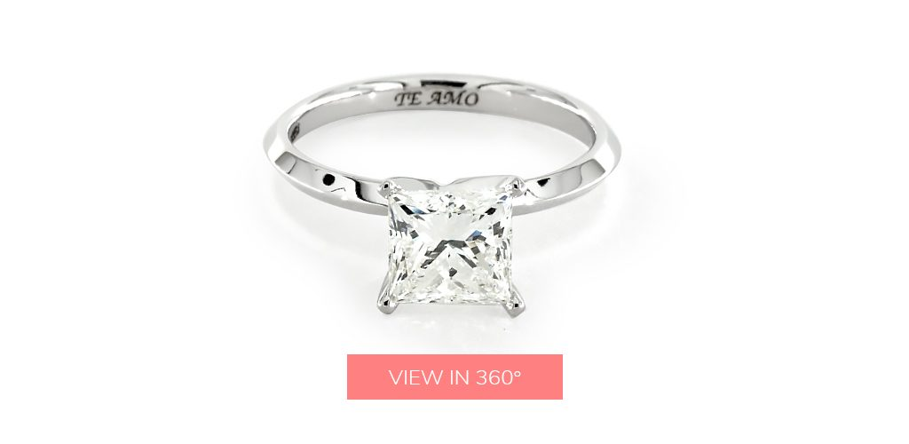 "engagement ring engraving ideas: white gold ring inscribed with the phrase ""Te Amo"" (""I Love You"")"""