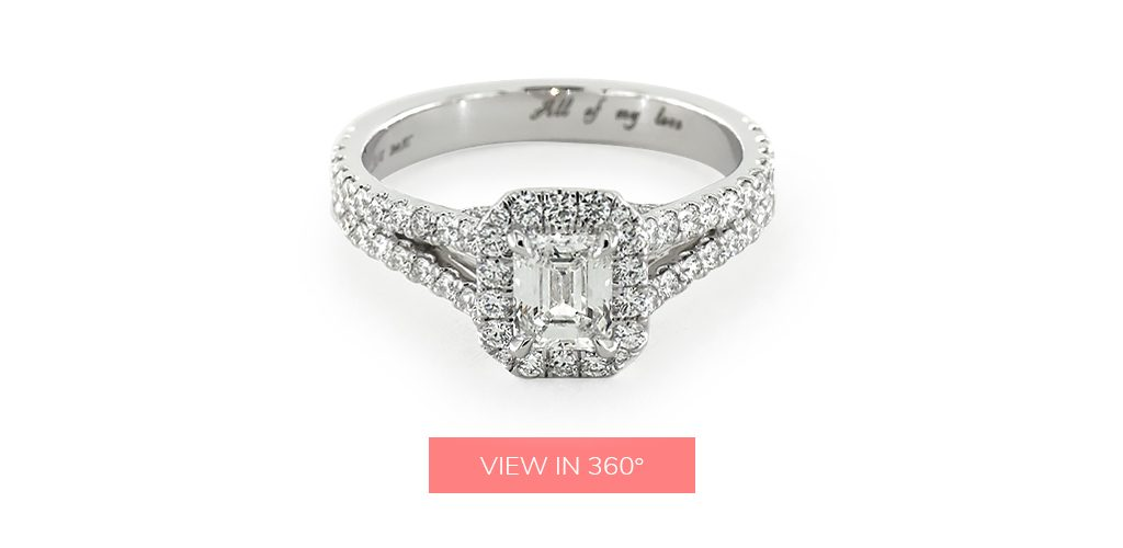 "engagement ring engraving ideas: split-shank Pavé ring inscribed with the words ""All of my love"""