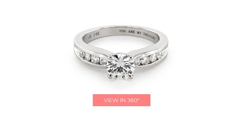 "engagement ring engraving ideas: white gold channel-set ring engraved with the phrase ""You Are My Treasure"""