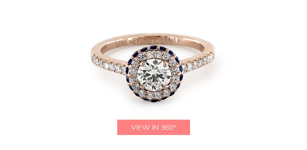 "engagement ring engraving ideas: ring engraved with the phrase ""Love Beyond Eternity"""