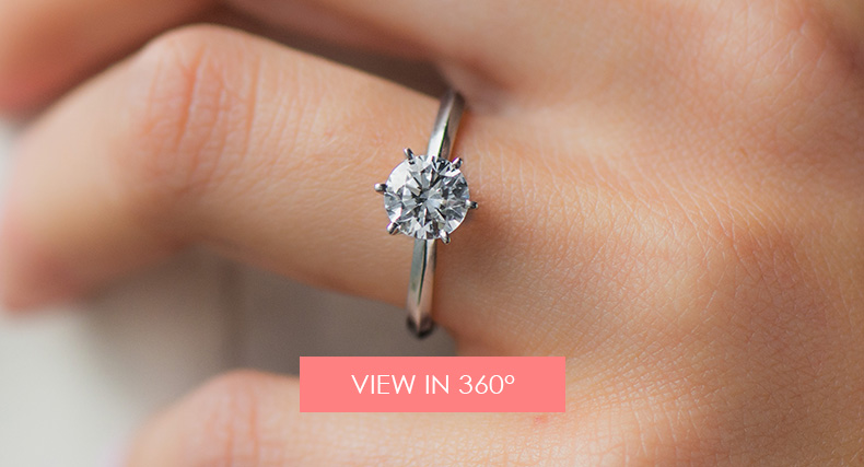 14K White Gold Presentation Solitaire (Six Prong)