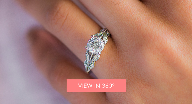 14K White Gold Vintage Inspired Floral Bouquet Engagement Ring