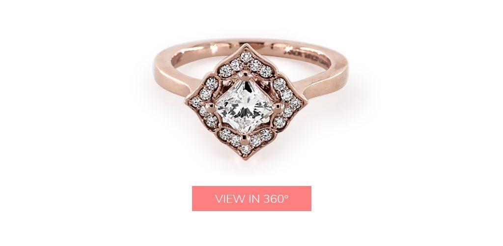 0.620 Carat H-VS1 Princess Cut Diamond Magnolia Engagement Ring  under $3,000