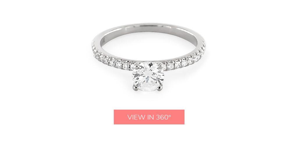 14K White Gold Petite Pavé Engagement Ring under $3,000