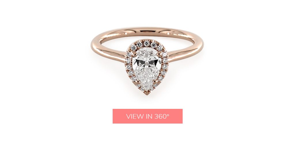0.88 Carat E-VS1 Pear Shaped Diamond Pavé Halo Diamond Engagement Ring (Pear Center) under $3,000
